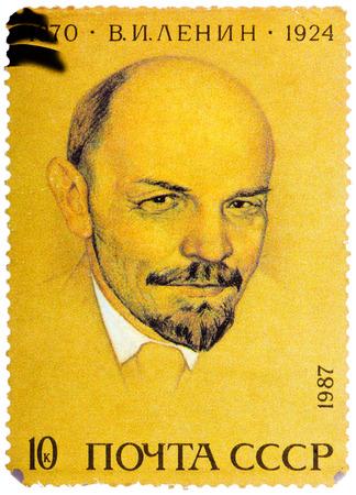 ulyanov: USSR - CIRCA 1987: A stamp printed in Russia shows portrait of Vladimir Ilyich Lenin, circa 1987