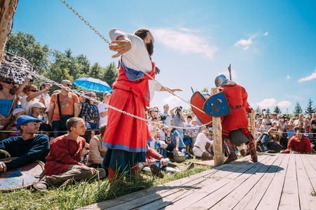 MINSK, BELARUS - JULY 19, 2014: Historical restoration of knightly fights on festival of medieval culture