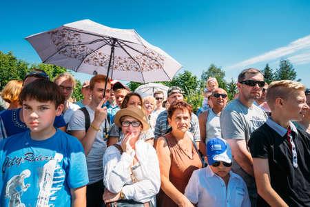 MINSK - JUL 19 Spectators of VI festival of medieval culture Our Grunwald, dedicated to 604 anniversary of Battle of Grunwald on July 19, 2014 in Dudutki, Minsk region, Belarus