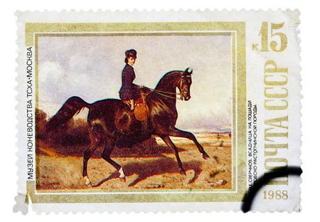 USSR - CIRCA 1988: A stamp printed in USSR, shows Horsewoman Riding an Orlov-Rastopchinsky , by N.E. Sverchkov, series Moscow Museum of Horse Breeding, circa 1988