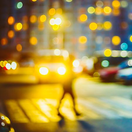 light yellow: Defocused Blue Boke Bokeh Urban City Background Effect.  Design Backdrop Stock Photo
