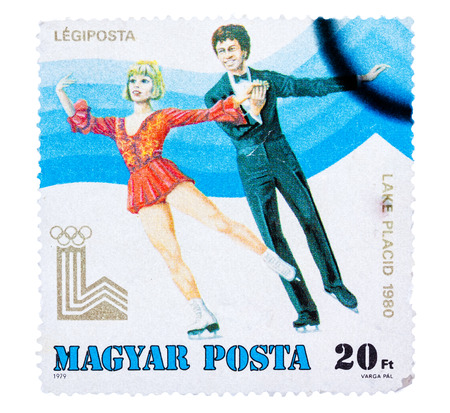 placid: HUNGARY - CIRCA 1979: a stamp printed in the Hungary shows Figure Skating, Winter Olympics Lake Placid 1980, circa 1979