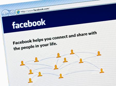 MINSK, BELARUS - May 20, 2011: Facebook homepage, one of the biggest social network website. Homepage of Facebook.com on monitor screen