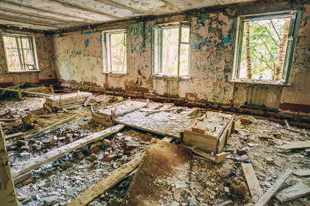 chernobyl: Abandoned House Interior In Chernobyl. School Of Pripyat. Chornobyl Disasters