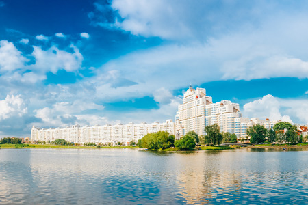 svisloch: Building In Old Part Minsk, Downtown Nyamiha, Nemiga View With Svisloch River, Belarus