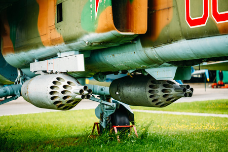 all weather: Russian Soviet Mikoyan MiG-27K is a variable-geometry ground-attack aircraft, originally built by the Mikoyan design bureau in the Soviet Union. Close Up Detail Of Weapon. Editorial