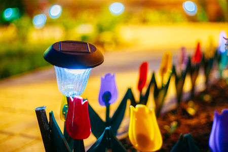 garden lamp: Small Solar Garden Light, Lanterns In Flower Bed. Garden Design. Solar Powered Lamp
