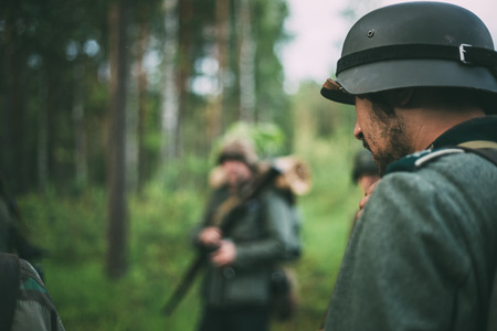 german soldier: SVETLAHORSK, BELARUS - JUNE 20, 2014: Unidentified re-enactor dressed as German soldier during events dedicated to 70th anniversary of Soviet Belorussian offensive operation Bagration.