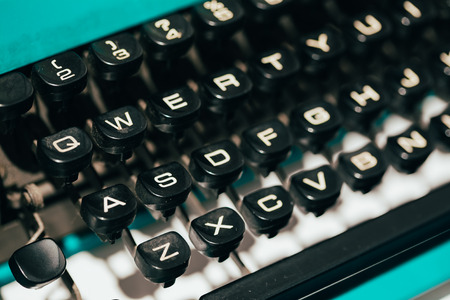 Close Up Toned Photo Of Antique Typewriter Keys. Old Manual Retro Keys, Vintage Keyboard. photo