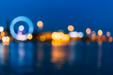Defocused Blue Boke Bokeh Urban City Background Effect. Design Backdrop photo