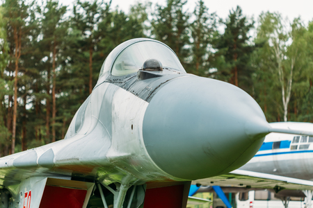 frontline: BOROVAYA, BELARUS - June 04, 2014: Russian Soviet multipurpose frontline fighter  fourth generation Mikoyan MiG-29. Developed by the Mikoyan design bureau as an air superiority fighter during the 1970.