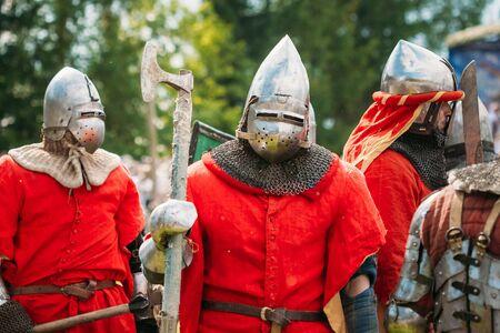 reenaction: MINSK, BELARUS - JULY 19, 2014: Historical restoration of knightly fights on festival of medieval culture Editorial