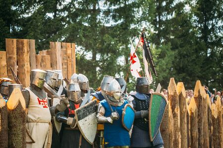 tourney: MINSK, BELARUS - JULY 19, 2014: Historical restoration of knightly fights on festival of medieval culture Editorial