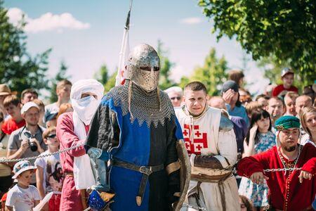 MINSK, BELARUS - JULY 19, 2014: Historical restoration of knightly fights on festival of medieval culture Editorial