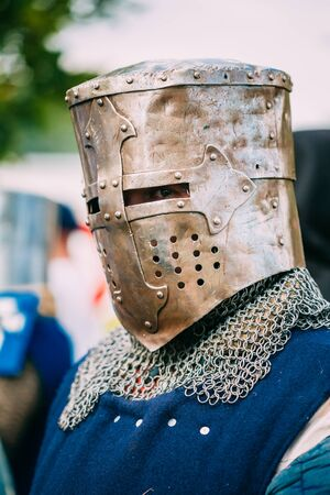 MINSK, BELARUS - JULY 19, 2014: Historical restoration of knightly fights on festival of medieval culture. Knight participant