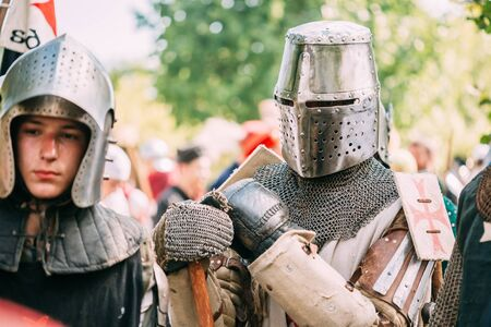 participant: MINSK, BELARUS - JULY 19, 2014: Historical restoration of knightly fights on festival of medieval culture. Knight participant Editorial