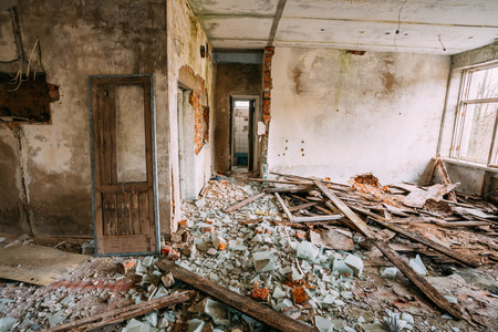 Abandoned House Interior In Chernobyl Resettlement Zone. Chornobyl Disasters