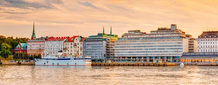 Panorama Of Embankment In Helsinki At Summer Sunset Evening, Sunrise Morning, Finland. Town Quay, Famous Place Stock Photo
