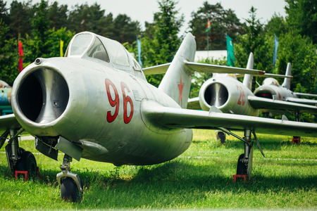 all weather: BOROVAYA, BELARUS - June 04, 2014: MiG-15 UTI is Russian Soviet high-subsonic fighter aircraft. It was used as effective threat against supersonic fighters of United States in Vietnam War.