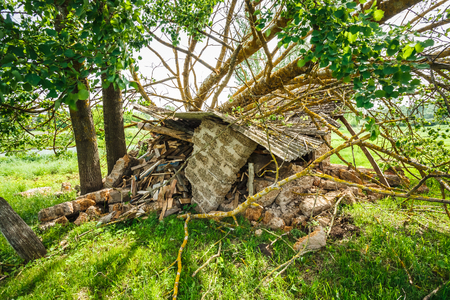natural disaster: Old Barn Damaged By Recent Hurricane. Natural Disaster Stock Photo