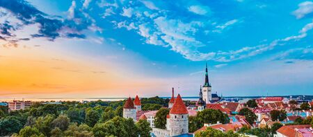 city panorama: Panorama Panoramic Scenic View Landscape Old City Town Tallinn In Estonia