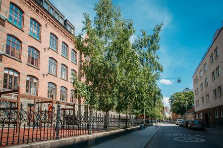 building bricks: STOCKHOLM, SWEDEN - JULY 29, 2014:  Building Of School In Streets Of Stockholm, Sweden Editorial