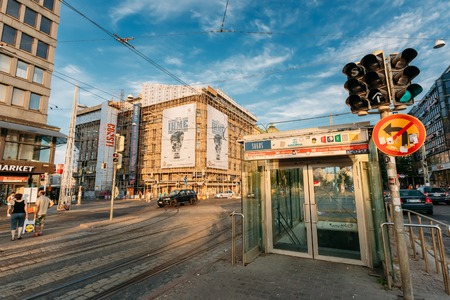 underground passage: HELSINKI, FINLAND - JULY 28, 2014: Entrance to the underground passage in the center of town