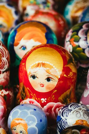 matreshka: Colorful Russian Nesting Dolls Matreshka At Market. Matrioshka Babushka Nesting Dolls Are Most Popular Souvenirs From Russia. Stock Photo