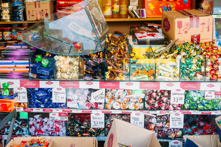 sweet food: UKRAINE, KIEV - December 12, 2012: Assorted sweets candy is on display in local market. Editorial