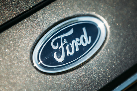 auto focus: FRANKFURT-HAHN, GERMANY - JUNE 17, 2015: The Ford Focus Silver Logo