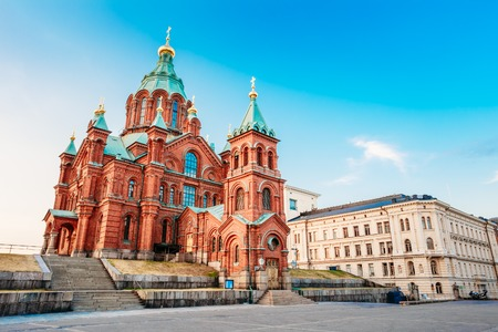 church buildings: Uspenski Cathedral, Helsinki On Hill At Summer Sunny Day. Red Church - Tourist destination In Finnish Capital, Finland.