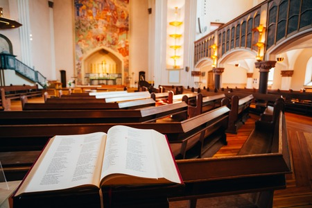 church buildings: STOCKHOLM, SWEDEN - JULY 29, 2014: Interior Of Sofia Kyrka - Sofia Church. Sofia Church named after the Swedish queen Sophia of Nassau, is one of the major churches in Stockholm, Sweden.