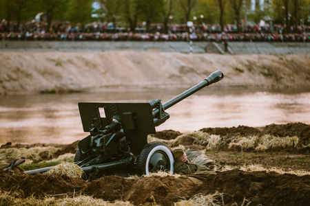 reenacting: MOGILEV, BELARUS - MAY, 08, 2015: Reconstruction of Battle during events dedicated to 70th anniversary of the Victory of the Soviet people in the Great Patriotic War. Editorial