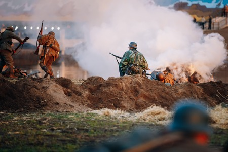 wehrmacht: MOGILEV, BELARUS - MAY, 08, 2015: Reconstruction of Battle during events dedicated to 70th anniversary of the Victory of the Soviet people in the Great Patriotic War. Editorial