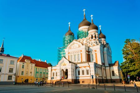 alexander nevsky: Alexander Nevsky Cathedral, An Orthodox Cathedral Church In The Tallinn Old Town, Estonia. Summer Time Stock Photo