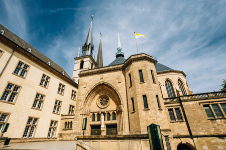 cornerstone: Notre-Dame Cathedral, Luxembourg is the Roman Catholic Cathedral. Grand Duchy of Luxembourg. It was originally a Jesuit church, and its cornerstone was laid in 1613. Stock Photo