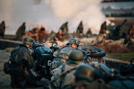 MOGILEV, BELARUS - MAY, 08, 2015: Reconstruction of Battle during events dedicated to 70th anniversary of the Victory of the Soviet people in the Great Patriotic War. Editorial