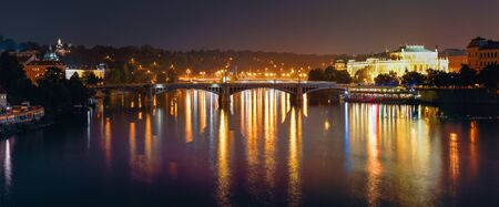 manes: Night Panorama Of Prague, Czech Republic. Panoramic Night View Of Vltava River And Manes Bridge
