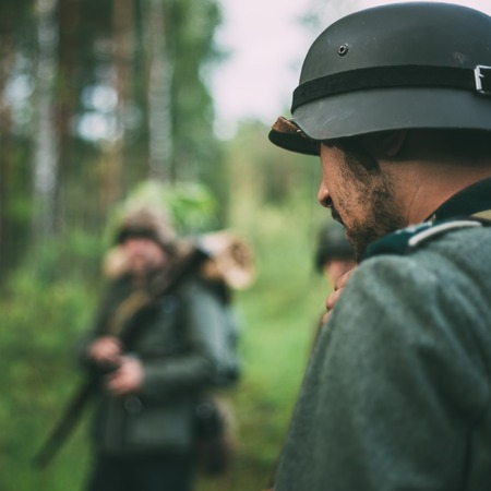 wehrmacht: SVETLAHORSK, BELARUS - JUNE 20, 2014: Unidentified re-enactors dressed as German soldiers during events dedicated to 70th anniversary of Soviet Belorussian offensive operation Bagration. Editorial