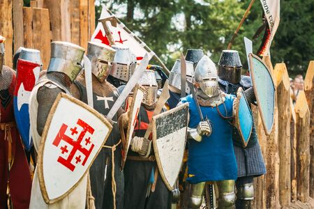 stronghold: MINSK, BELARUS - JULY 19, 2014: Historical restoration of knightly fights on festival of medieval culture Editorial