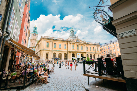 nobel: STOCKHOLM, SWEDEN - JULY 29, 2014: Swedish Academy and Nobel Museum on Stortorget square in Old City Gamla Stan, the Oldest Square in Stockholm