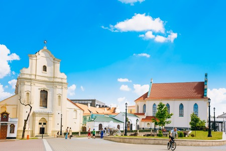 scientific literature: MINSK, BELARUS - June 2, 2015: St. Joseph Church in Minsk, Belarus. Now in a former church is located archive of scientific and technical documentation and archive of literature and art of Belarus