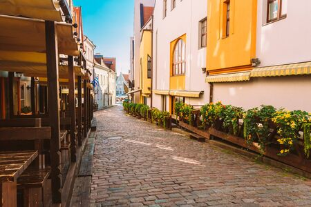 buildings town home: Streets And Old Town Architecture Estonian Capital, Tallinn, Estonia Stock Photo