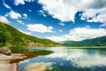 seson: Norway Nature Fjord, Summer Seson. Sunny Day, Landscape With Mountain, Pure Water Lake, Pond, Sea
