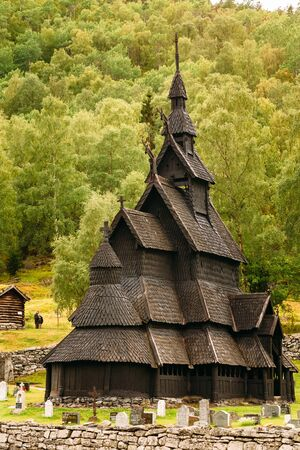stave: Borgund, Norway - August 1, 2014: Stavkirke An Old Wooden Triple Nave Stave Church Editorial