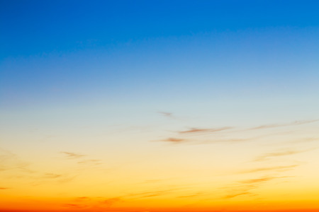 Sky, Bright Blue, Orange And Yellow Colors Sunset. Instant Photo, Toned Image. Gradient Background Banco de Imagens - 45289404