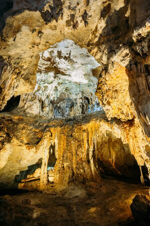 Cuevas de Nerja  - Caves of Nerja in Spain. Stalactites and stalagmites. Stock Photo