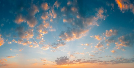 beautiful heaven: Panorama of Blue, Orange And Yellow Colors Sunset Sunrise Sky