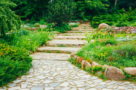 flower garden path: Stone Pathway Walkway Lane Path With Green Trees And Bushes In Garden