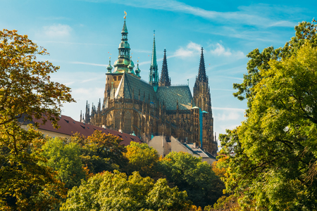 Famous St. Vitus Cathedral Prague, Czech Republic. Sunny day 스톡 콘텐츠